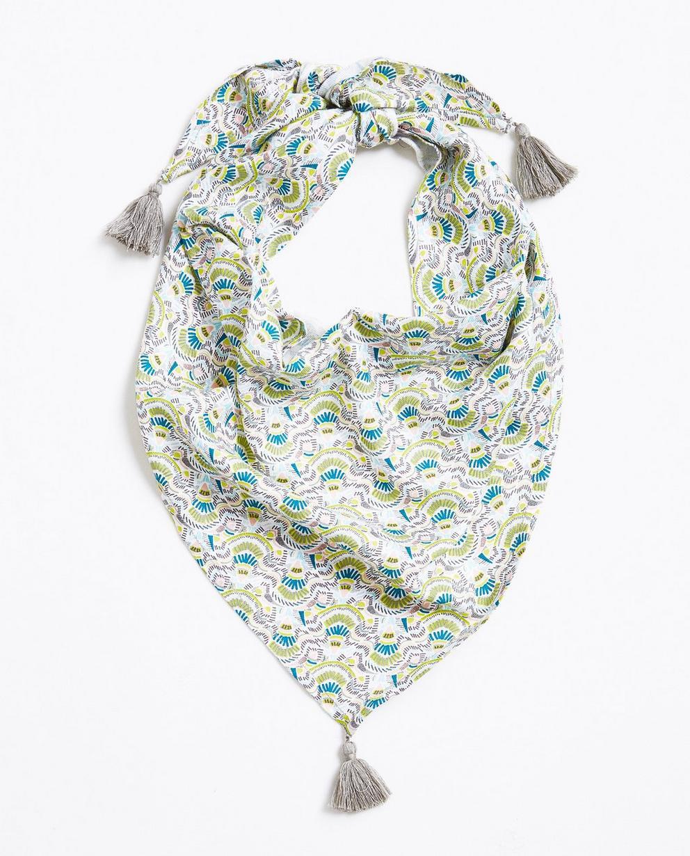Driehoekige viscose sjaal - met kleurrijke print - JBC